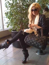 shoes,strappy black heels,black high heels,black heels,booties,bag,chanel,sunglasses,chic and edgy