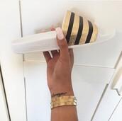 shoes,gold,black,adidas,adidas shoes,sliders,slide shoes,adidas slides