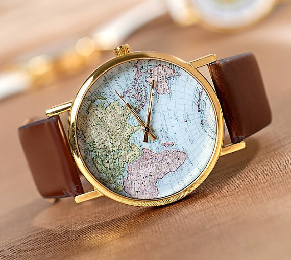 World map watch unisex watch leather watch by vintagelovers2012