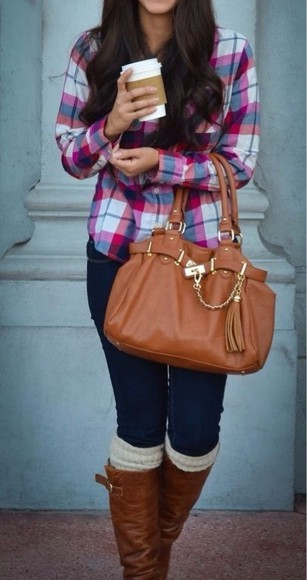 fall outfits winter outfits boots bag winter swag blouse socks