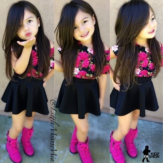 shoes girls toddler kids girly kids clothes kids fashion fashion kids skater skirt boots combat boots blouse skirt