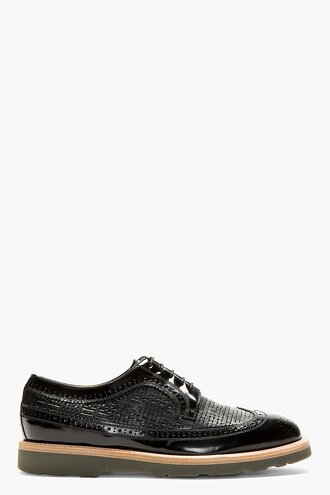 brogues black leather shoes menswear casual shoes longwing