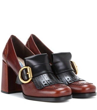 pumps leather brown shoes