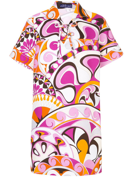 Emilio Pucci dress collared dress women cotton purple pink