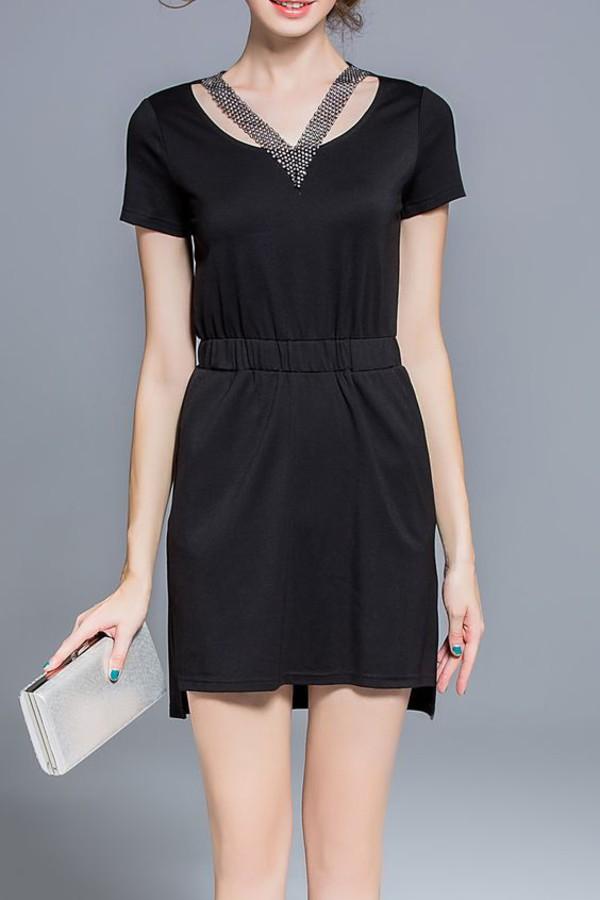 dress dezzal black dress black mini dress fashion all black everything cute dress girly style