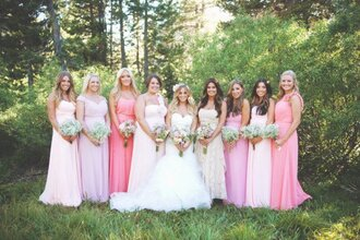 rustic wedding chic blogger pink dress bridesmaid light pink strapless dress wedding dress mermaid wedding dress