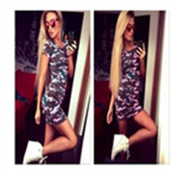 camouflage fashion pullover dress short sleeve mini dress pink yellow round neck