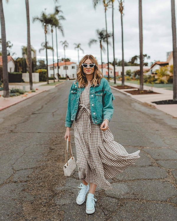 51a8b410e9 dress maxi dress plaid plaid dress sneakers white sneakers sunglasses white  sunglasses jacket denim jacket denim.