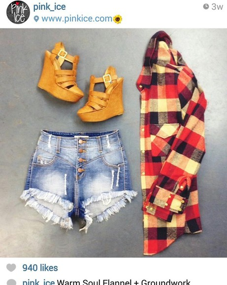 shorts high waisted short cutoff shorts shirt ootd cute high heels wedges flannel shirt high rise shorts shoes jacket