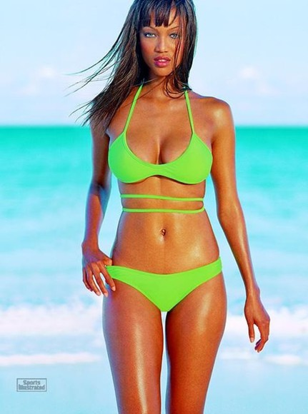 swimwear bikini tyra banks lime green