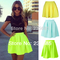 New 2014 women skirts spring summer neon green skater short skirt casual bright color mini skirts saia femal girl plus size zp02