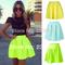 New 2014 women skirts spring summer neon green skater short skirt casual bright color mini skirts saia femal girl plus size zp02
