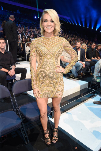 dress mini dress carrie underwood sandals gold gold dress bodycon dress shoes celebrity party dress