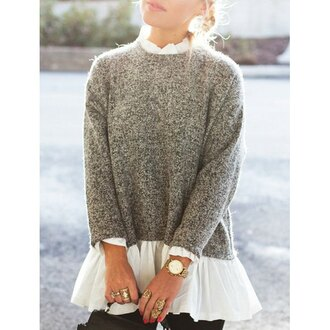 sweater grey fashion style cool white warm cozy winter outfits jumper knitwear long sleeves peplum trrendy clothes fine knit jumper dress