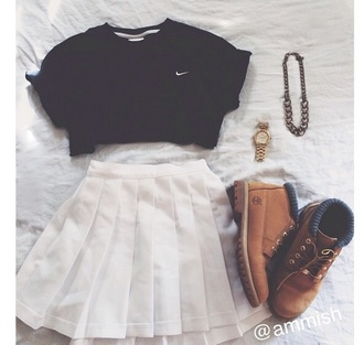 t-shirt nike sweater black top skirt white jewels top