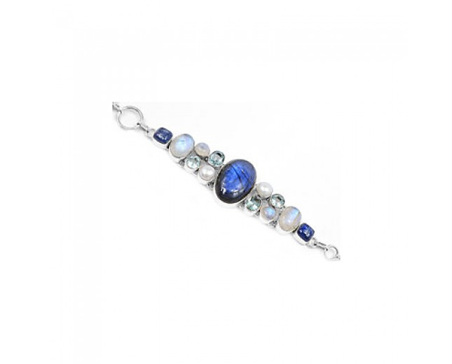Amazing 925 sterling silver Labradorite Kyanite And Blue Topaz Gemstone Cluster Bracelet