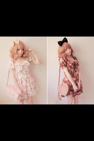 dress japanese japanese style kawaii lolita pastel girly pretty cute floral bow bows brown mocha
