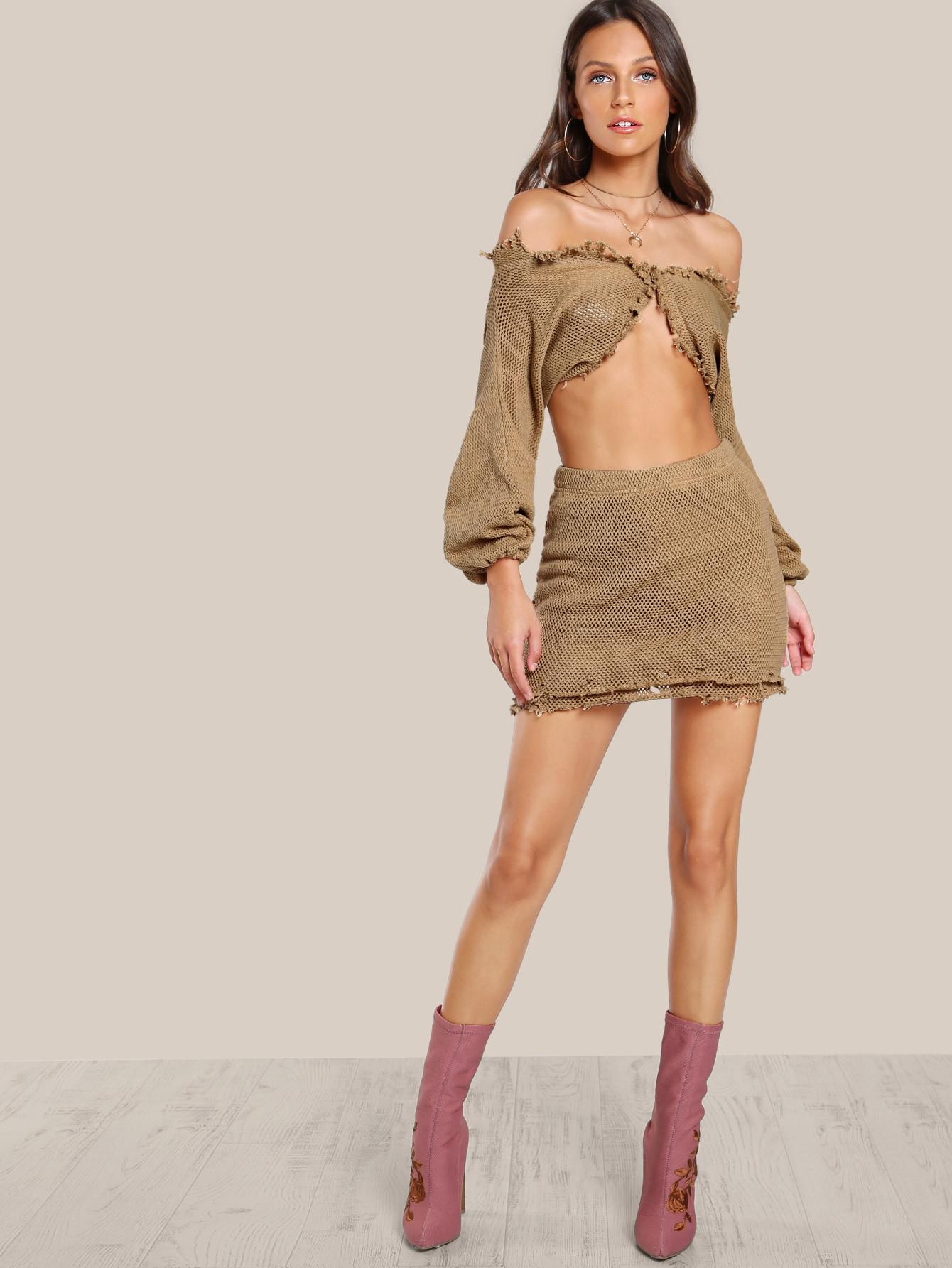 Raw Hem Knitted Skirt MOCHA -SheIn(Sheinside)