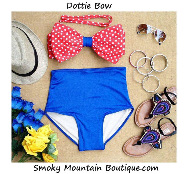 swimwear high waist swimsuit bow swimwear polka dots polka dot swimsuit red and white polka dots blue bottom blue red white and blue retro swimsuit vintage swimwear high waisted high waisted bikini