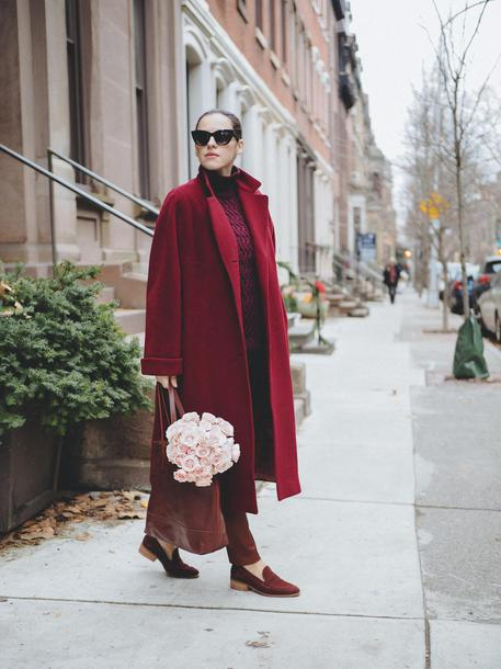 shoes monochrome monochrome outfit all red wishlist coat red coat loafers red loafers flowers top burgundy sunglasses