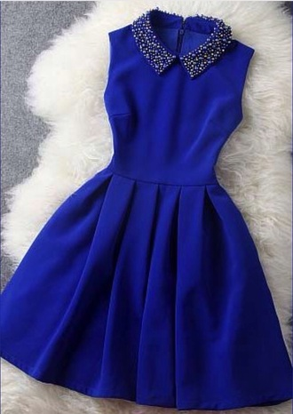 dress blue dress peter pan collar collared dress style fashion