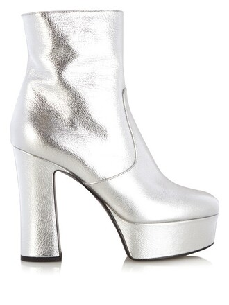 metallic candy boots ankle boots leather silver shoes