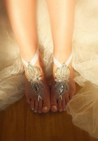shoes anklet beach wedding wedding shoes beach wedding clothes white lace crystal ribbon swimwear barefoot sandals wedding