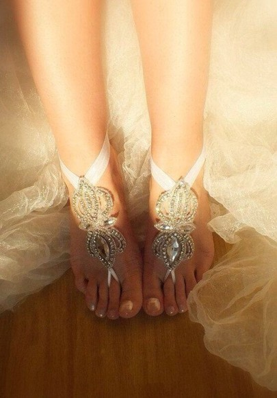 white forthebeach. wedding shoes beach wedding clothes lace crystal ribbon boho wedding dress shoes anklet