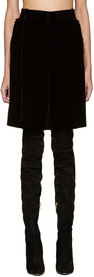shorts oversized black velvet