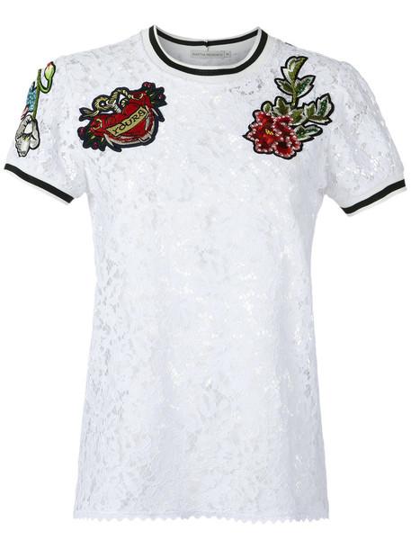 Martha Medeiros - lace top - women - Cotton/Polyamide/Viscose - 44, White, Cotton/Polyamide/Viscose