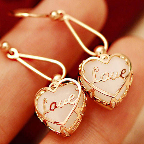 [grxjy5300132]European Style Elegant Opal 3D Heart Earrings on Luulla
