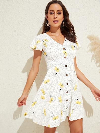 Vestido de manga con volante con estampado de lunares y flor