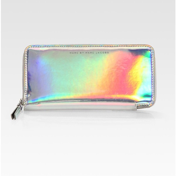 Marc by Marc Jacobs Techno Holographic Leather Slim Zip-Arou... - Polyvore