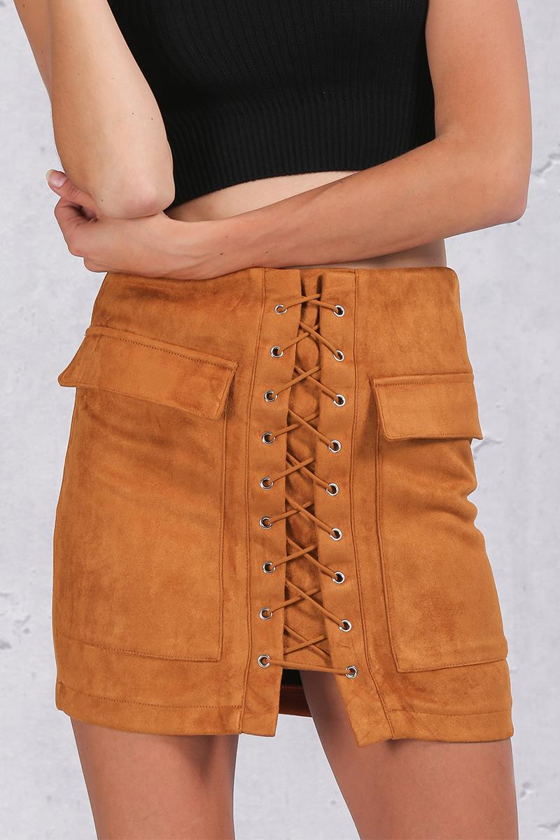 Lace-Up Suede Leather Skirt