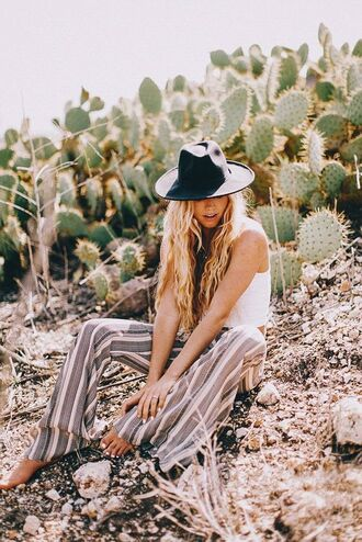 pants boho black hat boho pants striped pants wide-leg pants summer outfits