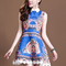 Blue day dress - bqueen beaded printed summer dress | ustrendy
