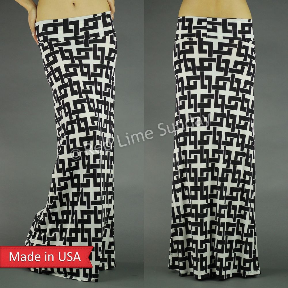 New women fold over black white chain maze geometric print long maxi skirt usa