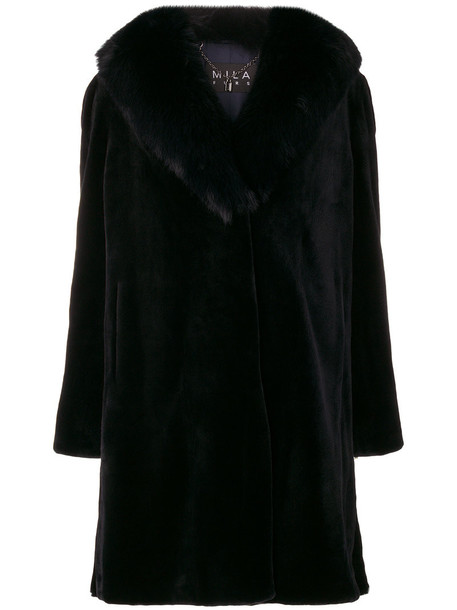 Cara Mila coat fur fox women blue silk