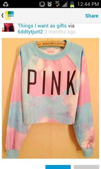 victoria's secret pastel pink sweater pastel pink blue