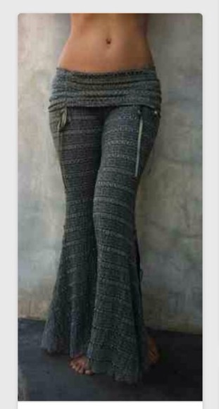 sexy cute bottoms pants grey bell knit bell bottoms yoga sweats