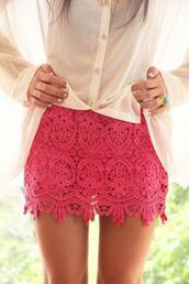 skirt,pink,lace,cute,girly,lace skirt,bag,blouse,jewels,short skirt,pink skirt,button down,ring,shorts,skinny,summer,beach,beautiful,lovely,tan,legs,green,nails,pretty,shirt,pink shorts,pink lace,mini skirt,fashion,style,classy,jupe,rose