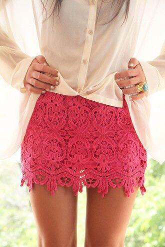 skirt pink lace cute girly lace skirt bag blouse jewels short skirt pink skirt button down ring shorts skinny summer beach beautiful lovely tan legs green nails pretty shirt pink shorts pink lace mini skirt fashion style classy jupe rose