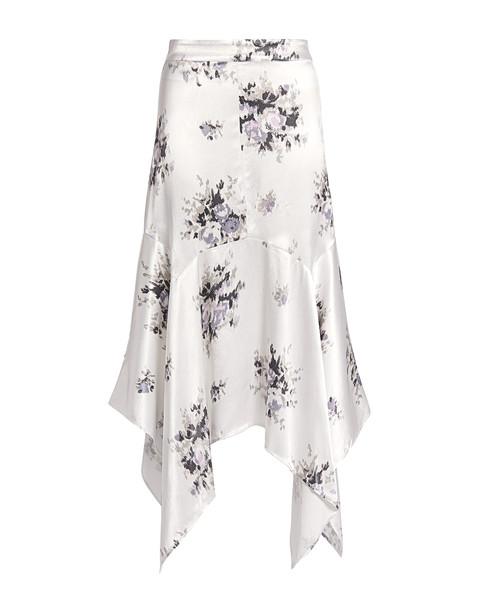 Ganni Cameron Floral Asymmetric Satin Midi Skirt Ivory