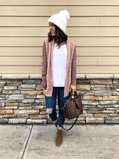 mrscasual,blogger,sweater,cardigan,jeans,shoes,jewels,hat,beanie,louis vuitton bag,boots