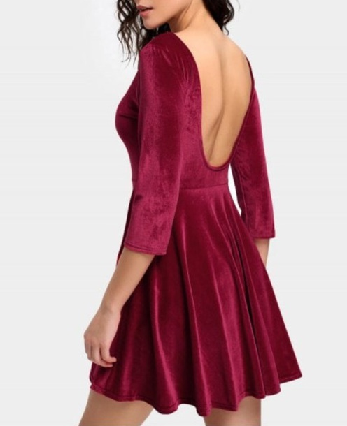 dress girly velvet dress crushed velvet burgundy burgundy dress skater dress skater low back dress