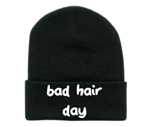Bad hair day embroidered beanie by tragicyouth on etsy