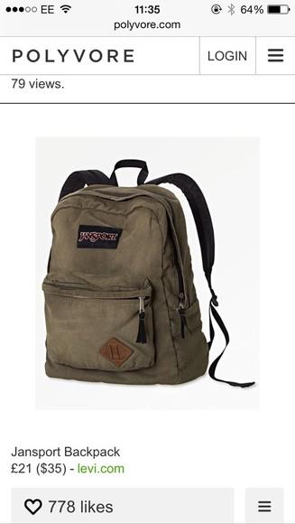 bag zip jansportbags jansportgreen jansportcanvas canvas backpack military livr karki jansport jansport acid wash accessories rucksack