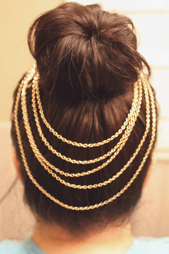 Gold hair chain by atthedrivein on etsy
