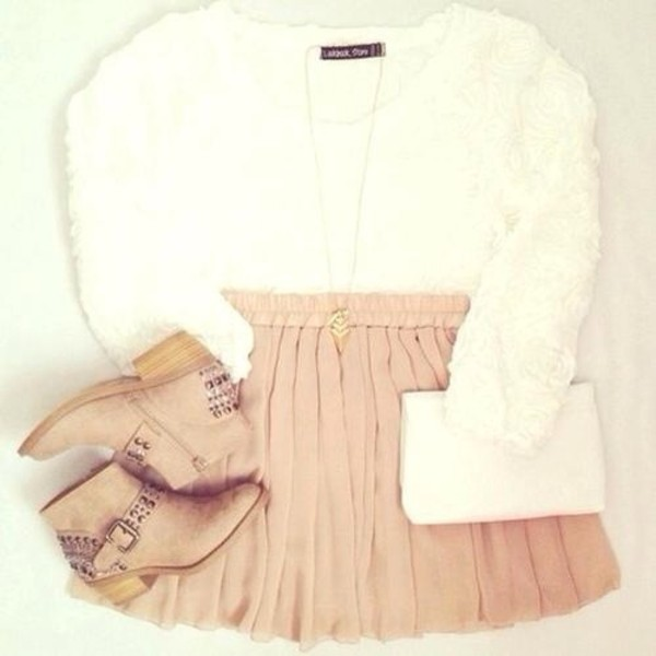 sweater skirt shoes