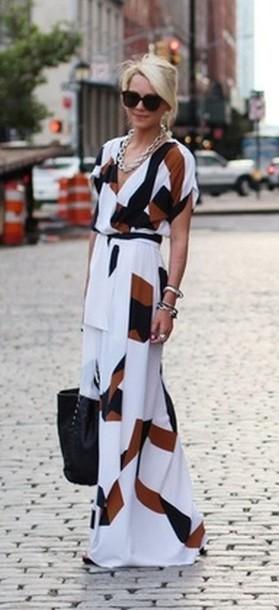 dress short sleeve dress maxi dress white dress colour block pattern fancy dress classy dress summer dress beach dress black and white dress brown color/pattern fashion long dress